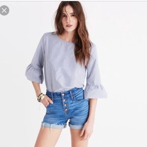 Madewell Bell Sleeve Blue Stripe Top